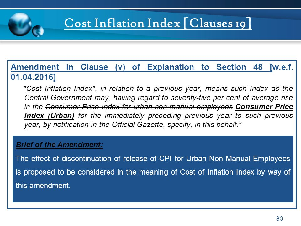 Cost Inflation Index [Clauses 19]
